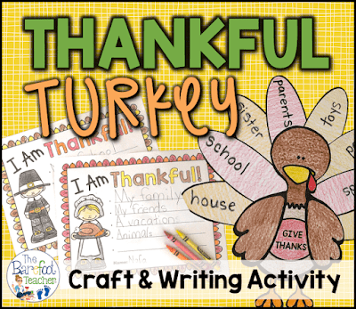 Thanksgiving Thankful Turkey Craft & Writing Sheets are a quick print favorite addition to the Preschool, Kindergarten, or First Grade lessons, crafts, & activities that you have planned for your kids this fall.