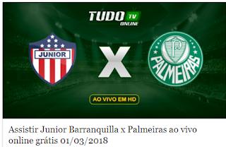 Assistir Junior Barranquilla x Palmeiras ao vivo online grátis 01/03/2018