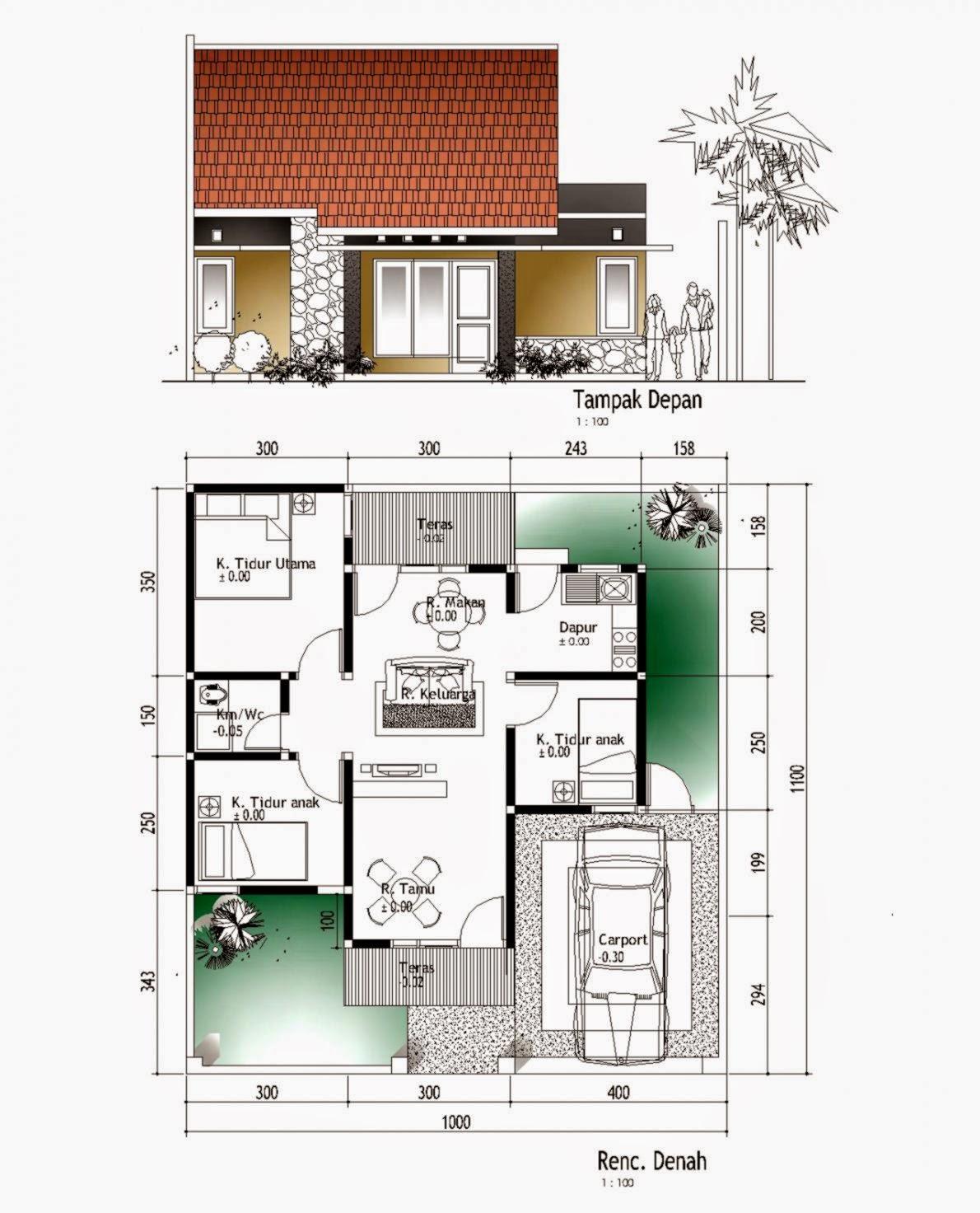 Denah Rumah Minimalis 3 Kamar 10x10 Tahun Ini Denahom