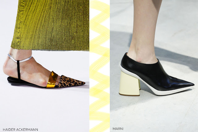 Pointed toes, extreme points will make you feet look slimmer.