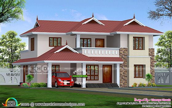 Kerala model 2178 square feet 4 bedroom home