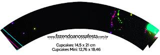 Wrappers para cupcakes de Fiesta Neón