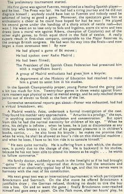Nota sobre Arturito Pomar en el libro del Torneo de Ajedrez de Londres 1946 (2)