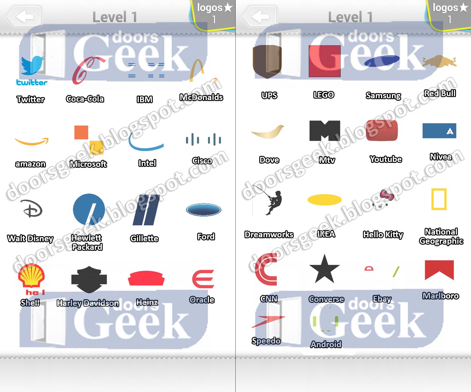 Logo Quiz Expert Mode Level 1 Answers Doors Geek