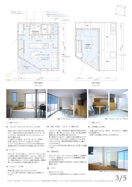 光と風のシークエンスをもたらす三階建ての家 平面計画2・3階 内観イメージ