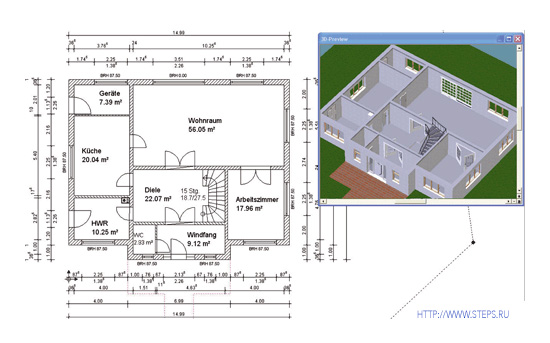 Програмку по построению чертежа дома
