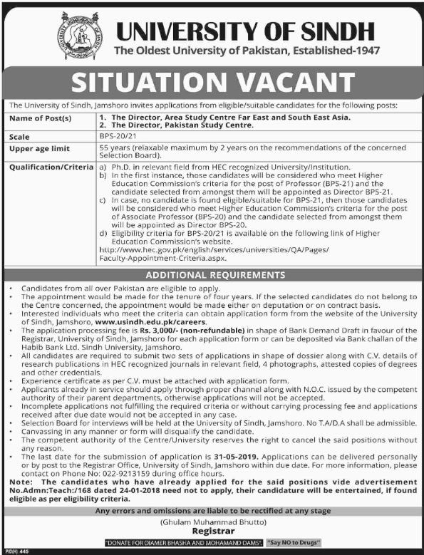 Advertisement for the University of Sindh Jobs
