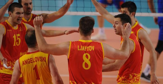 Volleyball players against Denmark in the semifinal of the European League