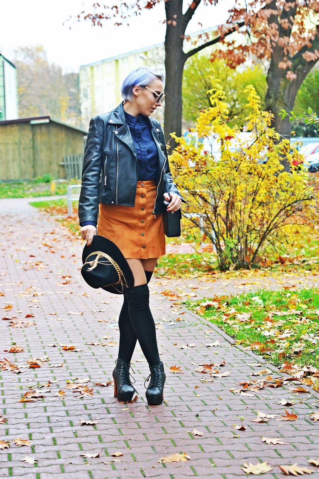 granatowa_koszula_lidl_ruda_spodnica_karyn_look_1