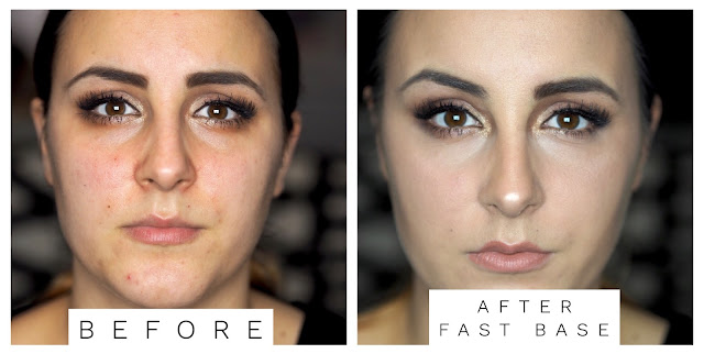 before and after Makeup Revolution Fast Base Foundation stick