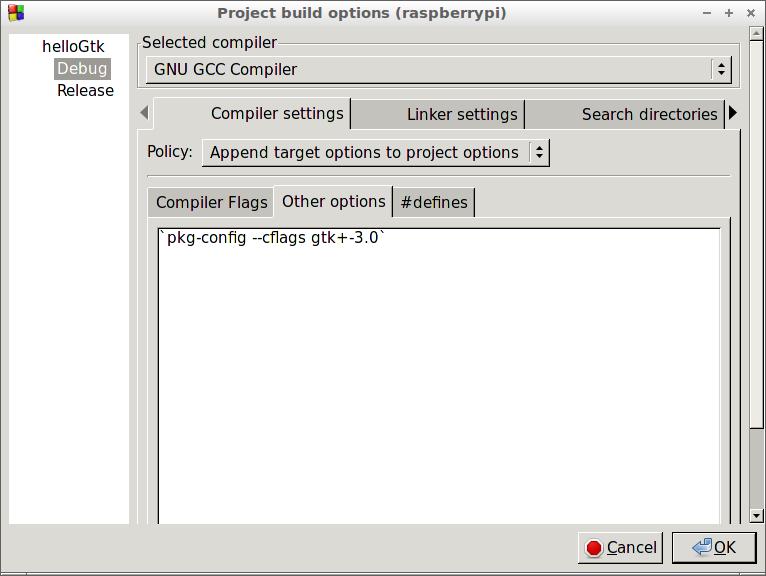 Hello Raspberry Pi: Build GTK+ Project using Code::Blocks on