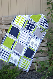 Baby Boy Elephant Crib Blanket by A Vision to Remember Rag Quilt