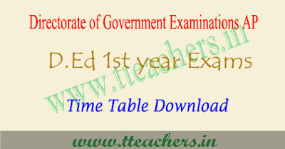 AP D.ed 1st year exam time table 2018-2019 d.ed schedule