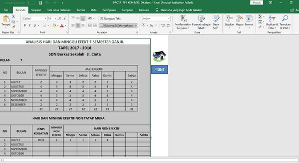 Jumlah Minggu Efektif di Aplikasi Pembuat Prota Promes KKM Format Excel