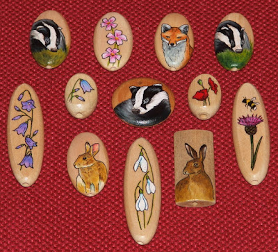 Hand painted wooden beads with wildlife images