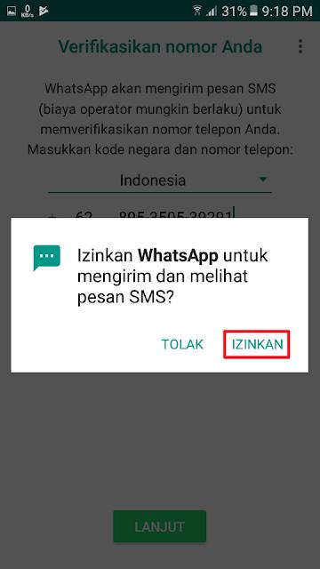 Izinkan WhatsApp untuk mengirim dan melihat pesan SMS?