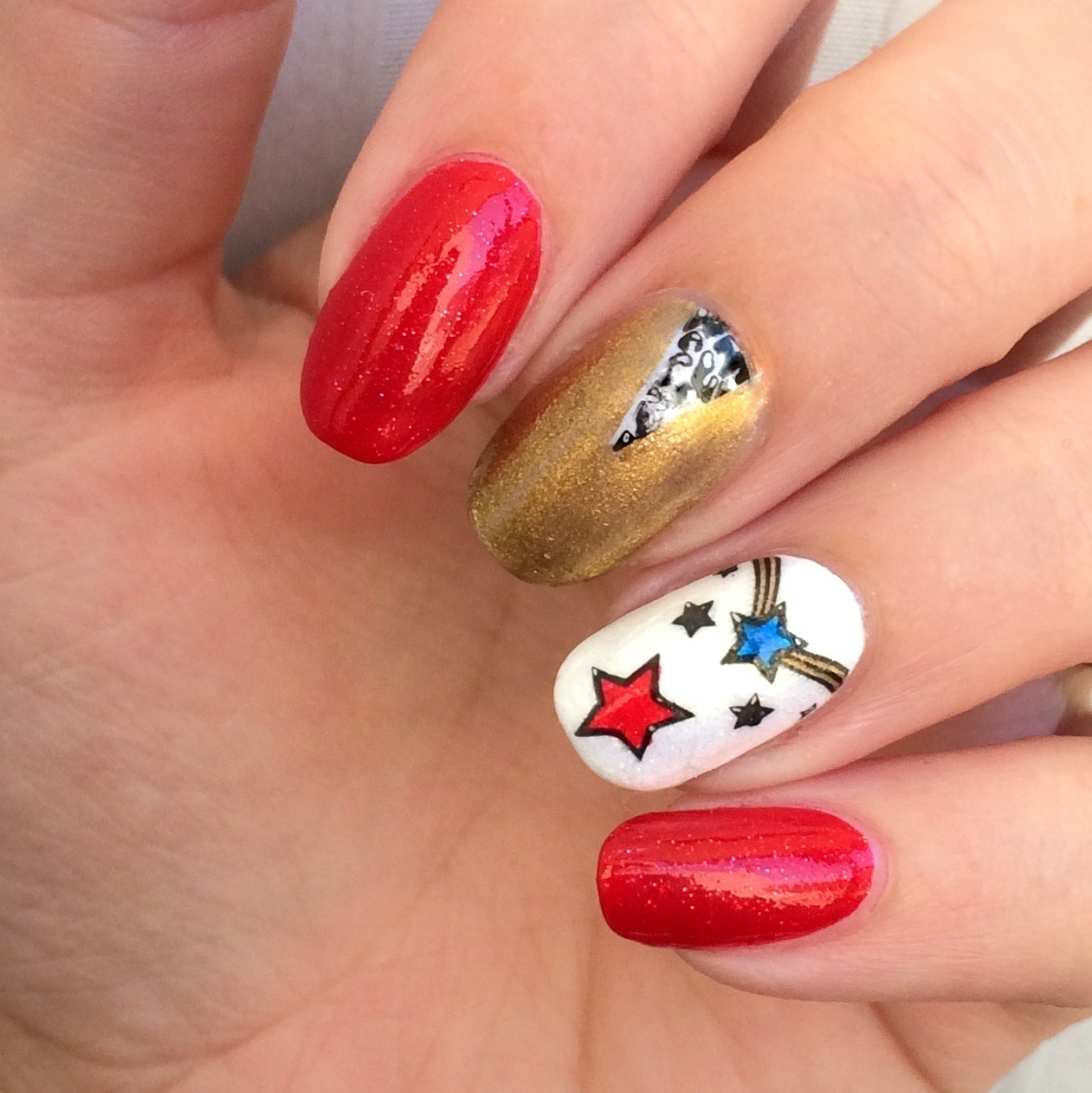 Midnight Stamper Simple Sunday 7217 Patriotic Nail Art