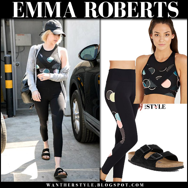 Emma Roberts in black sport print top and leggings cotton on workout clothes august 21 2017