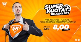 Kirolbet superkuota Goleadores equipos españoles champions jornada 1 18 septiembre