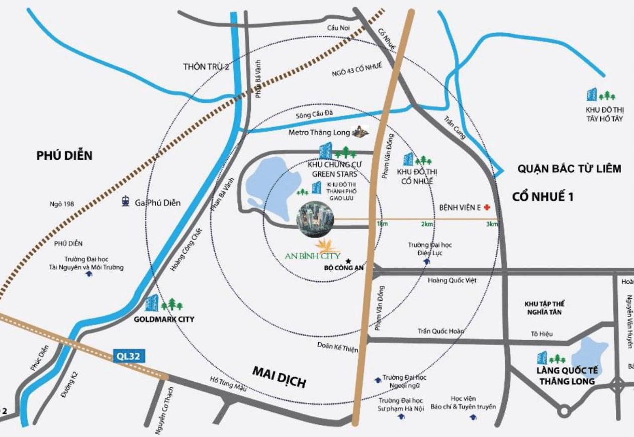 Vị trí đắc địa tại dự án chung cư An Bình City 232 Phạm Văn Đồng