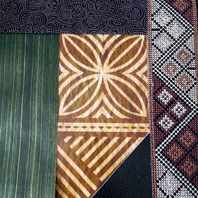 Selection of pasifika-themed paper, fabric, ribbon and braid.