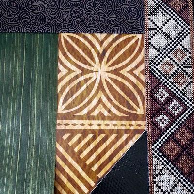 Selection of pasifika-themed paper, fabric, ribbon and braid.