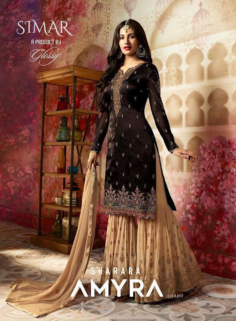 Glossy Simar Amyra Sharara hit list pakistani Suits wholesale