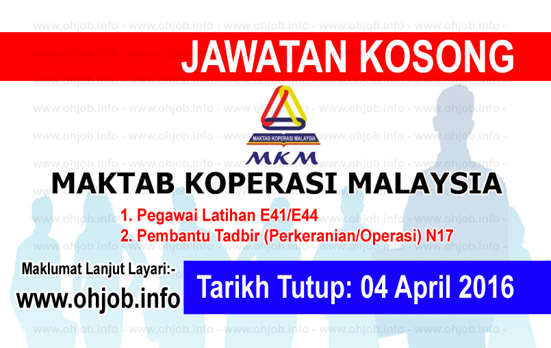 Jawatan Kerja Kosong Maktab Koperasi Malaysia (MKM) logo www.ohjob.info april 2016