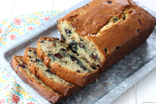 Classic sweet bread recipe Blueberry Banana Bread recipe from Served Up With Love