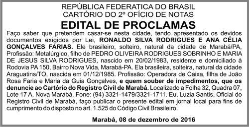 EDITAL DE PROCLAMAS -- MARABÁ/PA