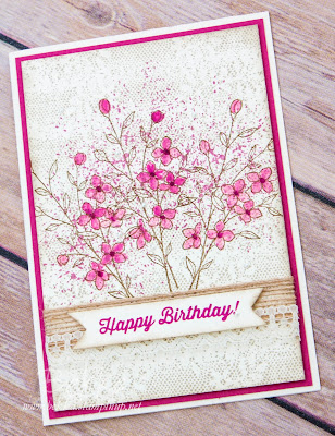 Vintage Birthday Flowers on a Lace Background made with Stamps from Stampin' Up! UK - buy Stampin' Up! UK here