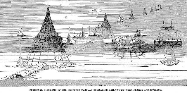 1851 Sectional Diagram of the proposed Tubular Submarine Railway between France and England