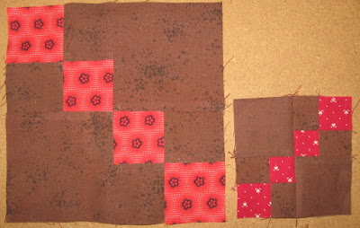 red and brown double four-patch quilt blocks