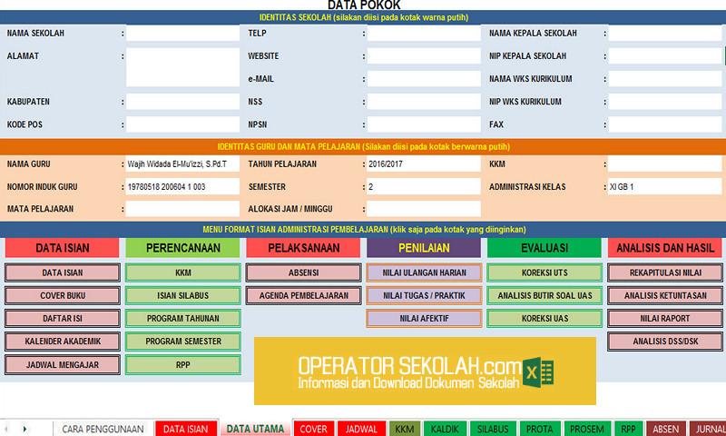Unduh Aplikasi Administrasi Guru Terlengkap Dalam Format Excel