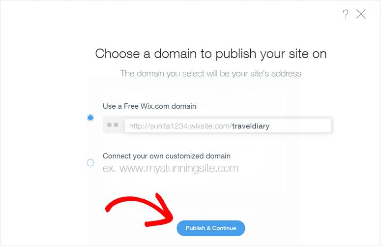 Pilih domain Wix