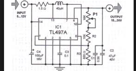 Wiring Schematic Diagram: TL497A Simple Voltage Converter