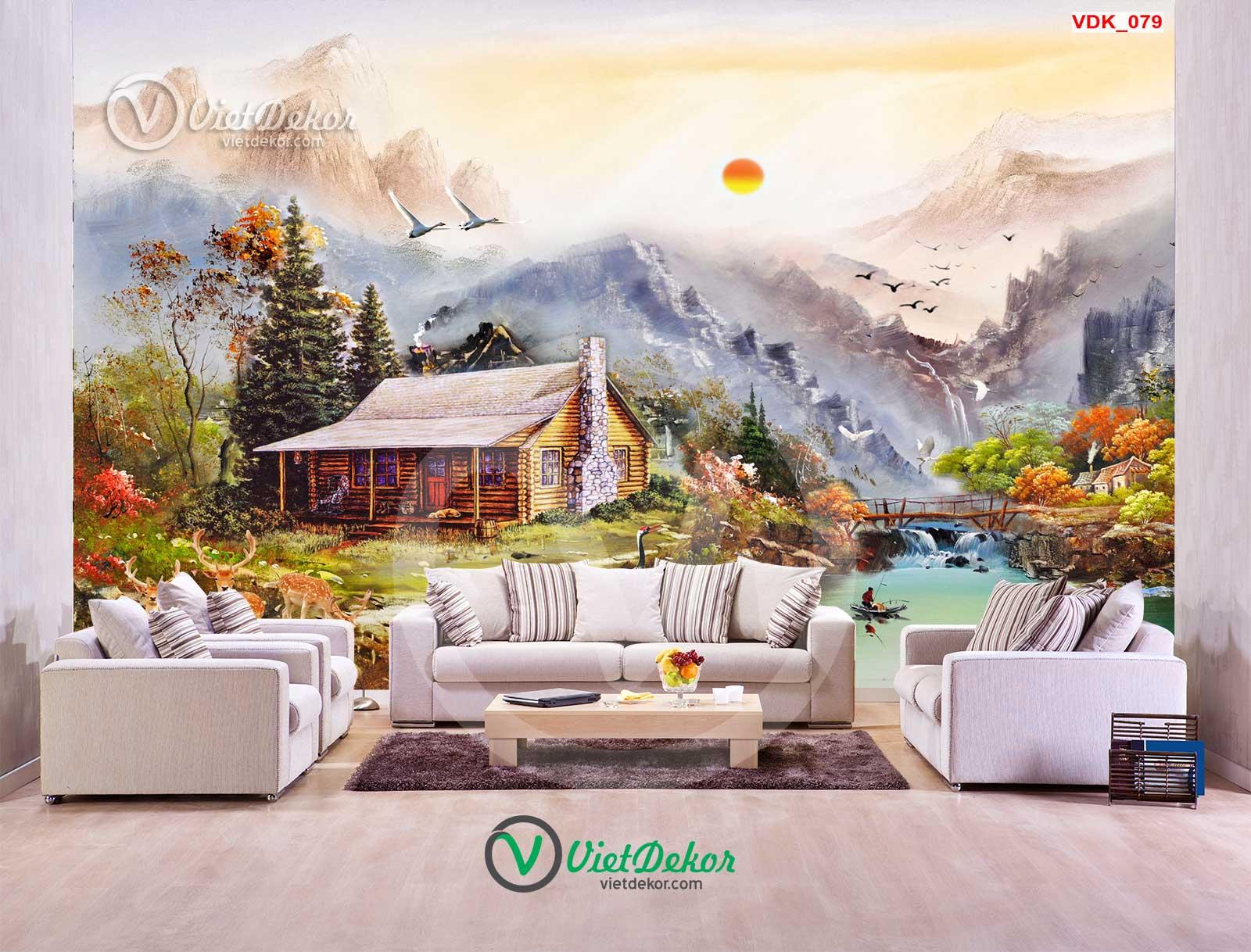 Tranh 3d phong cảnh làng quê núi rừng