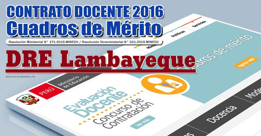 DRE Lambayeque: Cuadros de Mérito para Contrato Docente 2016 (Resultados 22 Enero) - www.educacion.regionlambayeque.gob.pe