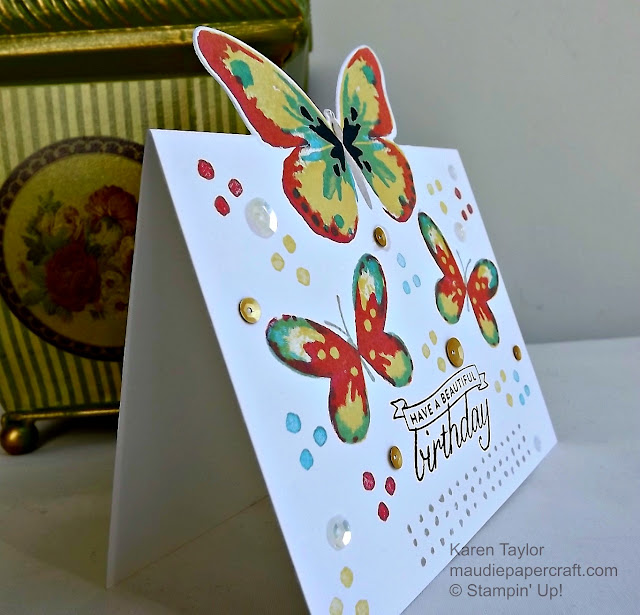 Stampin' Up! Watercolor wings partial die cut card