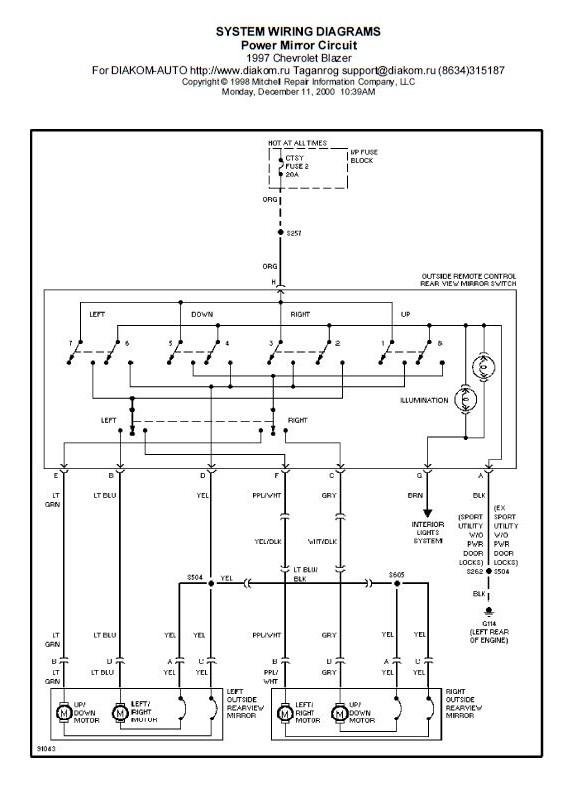 Sistem Wiring Spion Elektrik Blazer