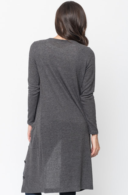 Shop for Charcoal Everyday Maxi Cardigan Front Pockets and Full Length Sleeves Online - $44 - on caralase.com