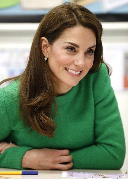 Kate Middleton wore Eponine London green dress, L.K. Bennett Marissa boots, KIKI McDonough Lauren earrings