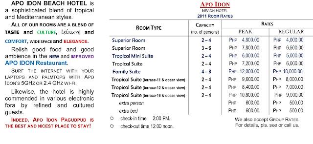Apo Idon Room Rates