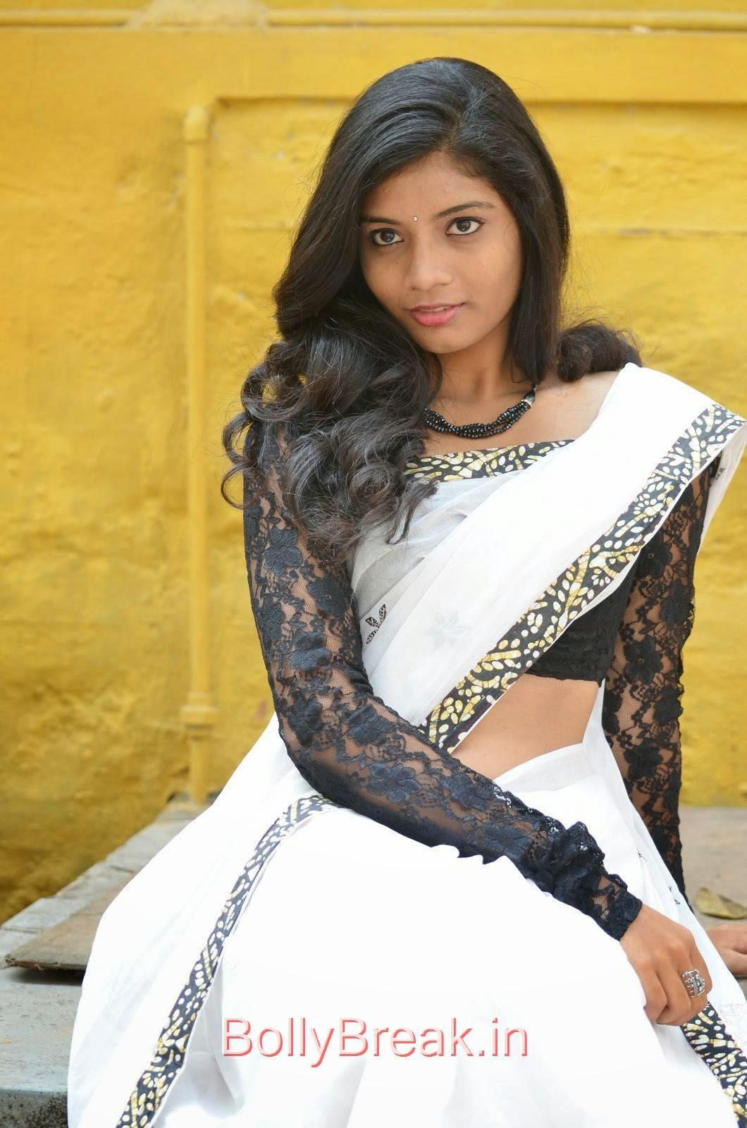 Bindu Photo Gallery, Bindhu Latest Hot Pics In White Saree