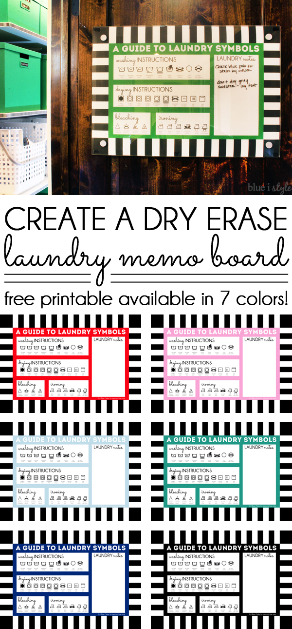 Dry Erase Memo Board with Laundry Symbols Poster