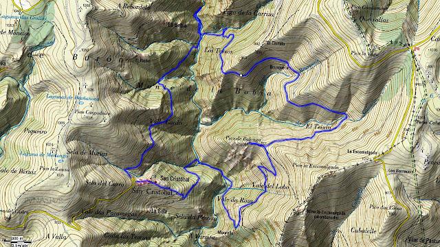 Mapa topográfico de La Ruta del Silencio - Villanueva de Oscos - Asturias