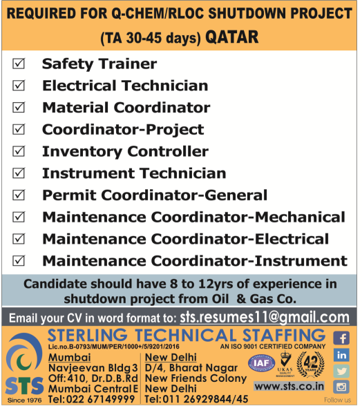 Latest Gulf Jobs: Qatar Chemical Company (Q-Chem) / Ras Laffan