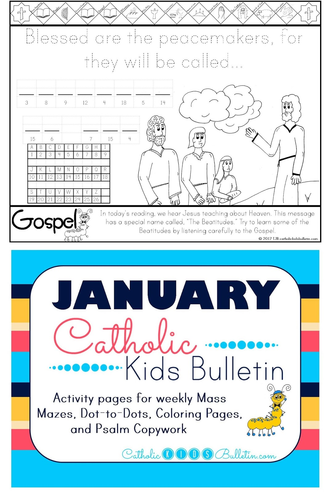 5 Beatitudes Matthew 5.1-12 Coloring Page Catholic Kids Bulletin