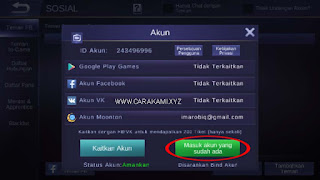 masuk akun mobile legend level 8