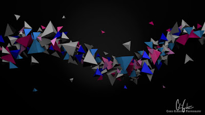 stream of coloured tetrahedrons made with blender 3d software